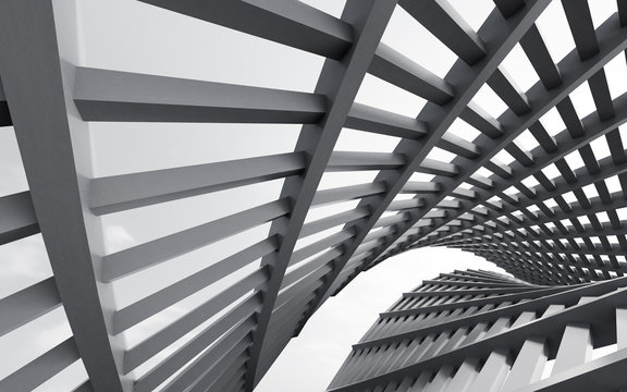 Abstract of metal structure,Steel architecture design,Black and white image of future building. 3D rendering