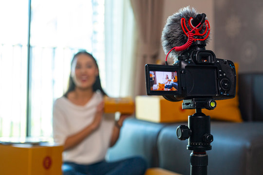 Vlog recording for live video interview your channel.