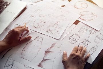 Production designer sketching Drawing Development Design product packaging prototype idea Creative Concept Wall mural