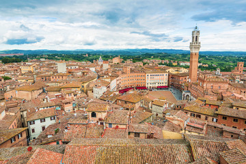 Cityscape of Siena in Italy