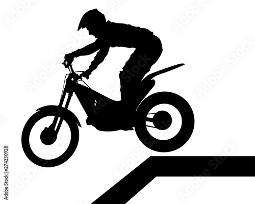 Wall mural Sport motorcycle and man white background