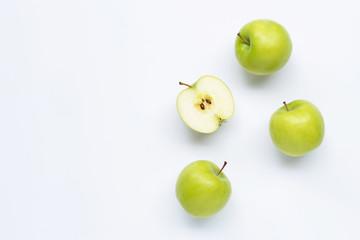 Green apples on white background. Fototapete