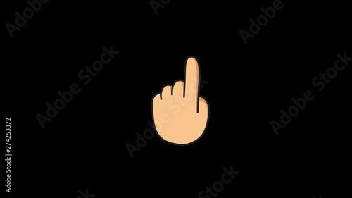 Hand indicator 4K animated emoji, emoticon  Backhand Index