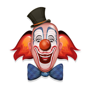 Circus Clown Face/ Illustration of a design circus clown head, with hat, red nose, makeup and funny hairs