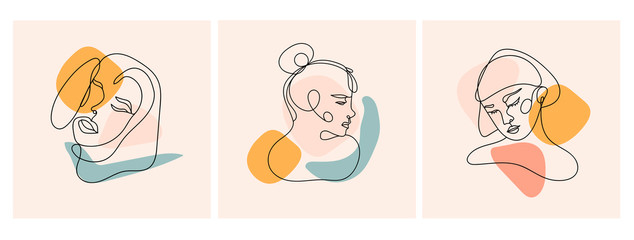 Modern abstract faces. Contemporary female silhouettes. Set of three hand drawn outline trendy vector illustrations. Continuous line, minimalistic concept. Pastel colors Wall mural