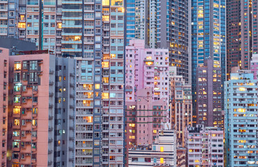 Residential buildings in the city center. Hong Kong.
