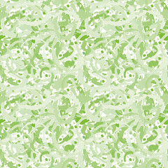 Abstract green transparent terrazzo design creating a painterly marbling effect. Seamless vector pattern on white background. Great for wellness, beauty products, texture packaging, stationery
