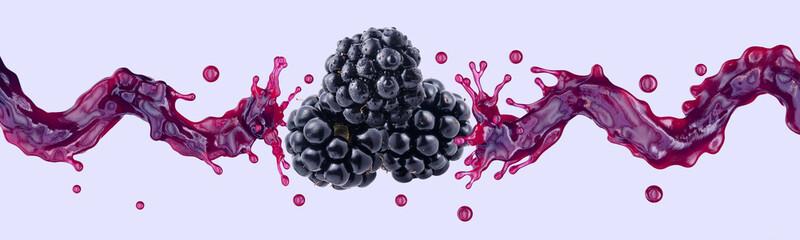Fresh blackberry juice, smoothie or jam splash 3D swirls with juicy blackberries. Tasty berry juice splashing, blackberry juice isolated. Liquid healthy food or detox drink fruit design Wall mural