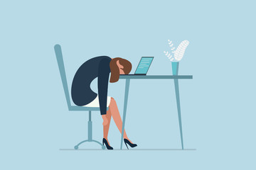 Professional burnout syndrome. Exhausted sick tired female manager in office sad boring sitting with head down on laptop. Vector long work day illustration