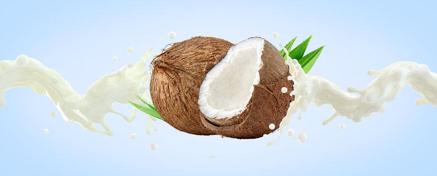 Fresh coconut milk wave splash with coconuts isolated. Glossy shining vegan milk, smoothie, non dairy organic coconut milk, cream, shampoo, cosmetic soap splash. Liquid splash label design element