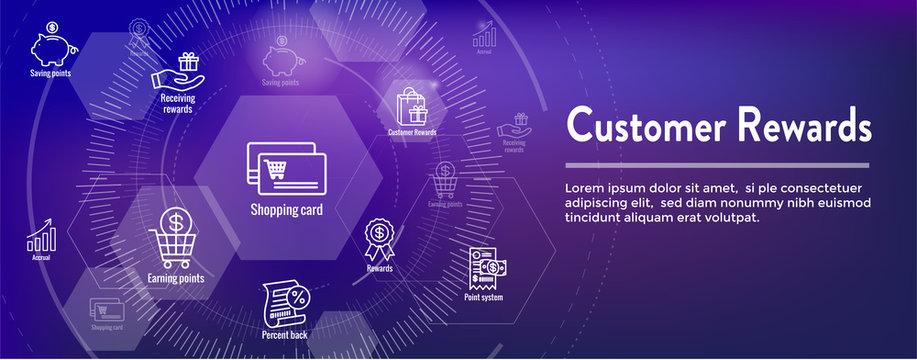 Customer Rewards Icon Set and Web Header Banner Design