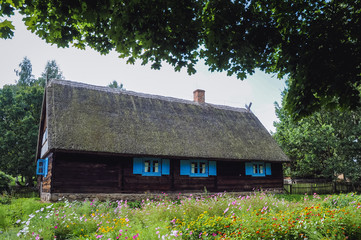 Late 19th century wooden cottage in heritage park in Olsztynek town, Warmia-Mazury Province, Poland