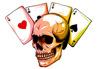Skulls with playing cards. Set of vector illustrations.
