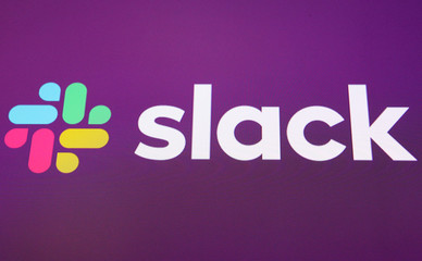 Slack Technologies Inc. logo is seen at the New York Stock Exchange (NYSE) during the company's direct listing in New York