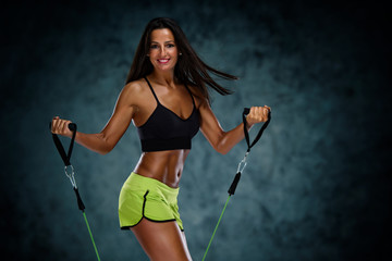 Sporty Woman Exercise With Resistance Bands