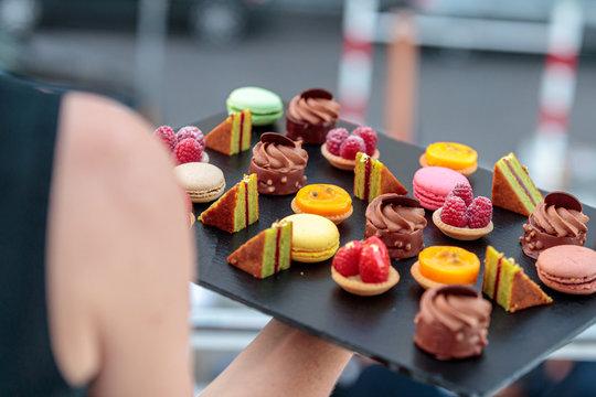 serving dessert in reception