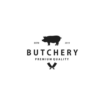Pig, pork. Vintage, retro for Butchery, typography Pork, pig silhouette logo design