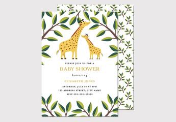 Illustrative Giraffe Baby Shower Invitation Layout
