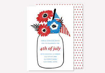 Fourth of July Invitation Layout with Star Pattern