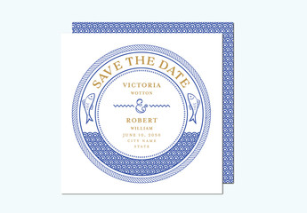Nautical Themed Save the Date Invitation Layout
