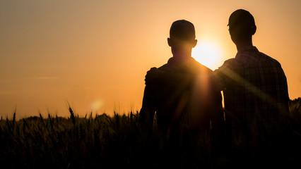 Fototapeta Two men gently hugging at sunset, rear view obraz
