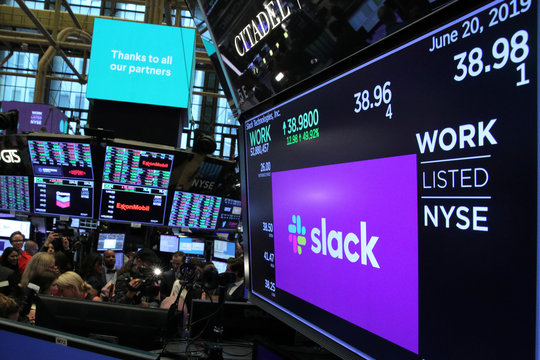 Slack Technologies Inc. stock price is seen on display during direct listing at New York Stock Exchange (NYSE) in New York