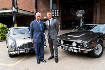 Prince Charles visits the set of James Bond at Pinewood Studios