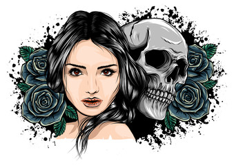 Girl with skeleton make up hand drawn vector sketch. Santa muerte woman witch portrait stock illustration Day of the dead face art