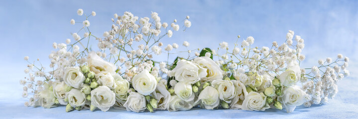 Panoramic image of flowers. Rose, Gerbera, Astra