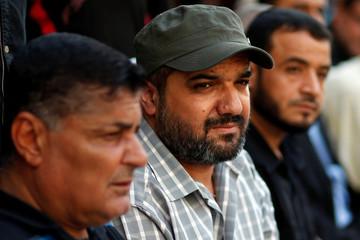 Palestinian Islamic Jihad commander Baha Abu Al-Ata attends an anti-Israel military show at Al-Shati refugee camp in Gaza City