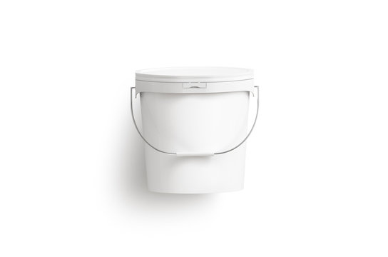Blank white paint bucket with handle mockup isolated, top view. 3d rendering. Sealed practica pail model mock up. Empty plastic tank. Storage container for gardening. Painting bucketful.