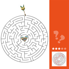Maze puzzle game for St. Valentine Day. Maze game for kids, answer included