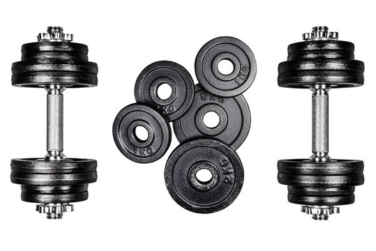 Gym dumbbells with black metal weights 1kg and 2kg, isolated on white background with clipping path. Top view, flat lay. Can be used as a gym background.