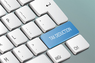 tax deduction written on the keyboard button