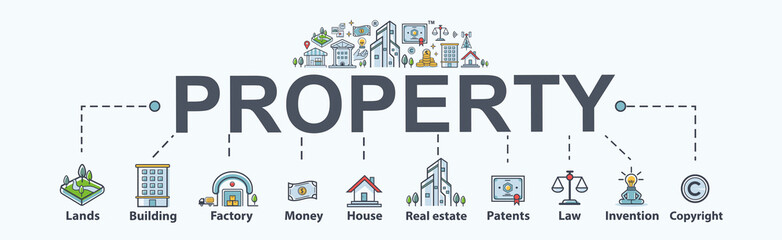 Property banner web icon for business and investment. Lands, building, factory, real estate, money, asset, copyright, patents, invention and trademark. Minimal vector infographic.