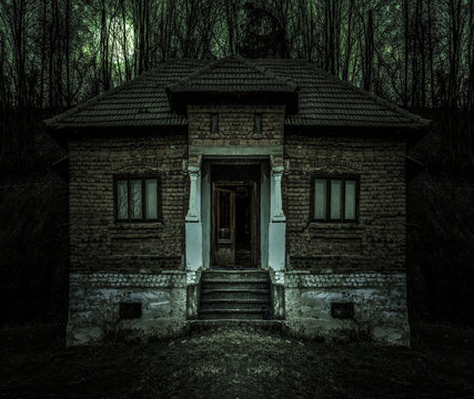 Old creepy haunted house with dark horror atmosphere and scary details. Ancient abandoned mansion with fool moon and black cat in frightening scene like in horror movies