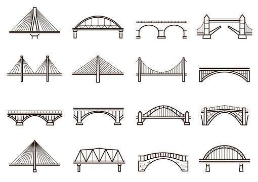 Bridges line icon set, city architecture construction