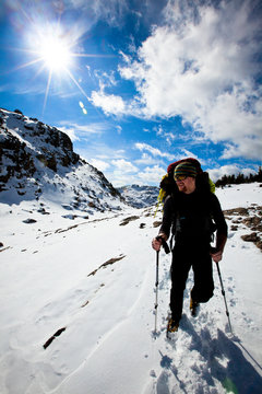 A man hikes on the Indian Pass Trail in the Wind river Range in Wyoming.