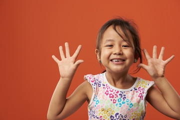 Playful asian girl portrait