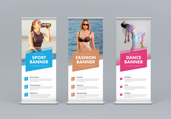 Athletic Roll Up Banner Layout Set with Colored Rectangles
