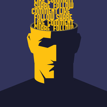 Male open head with words Like, Comment, Share, Follow inside. Social media influence concept illustration.