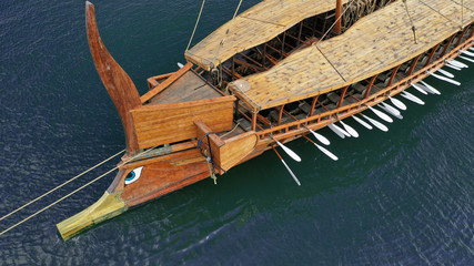 Aerial detail photo of ancient Greek warship full scale replica Trireme in port of Faliron, Attica, Greece Wall mural
