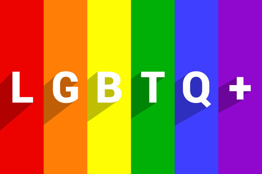 TText LGBTQ+ on striped pride flag or Rainbow pride flag background. Rainbow pride flag include of lesbian, gay, bisexual, and transgender of LGBT organization