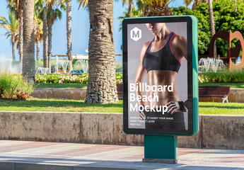 Outdoor Billboard Advertisement in Beach City Mockup