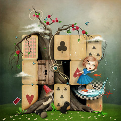 Conceptual fantasy illustration of Wonderland with Alice mess in  cards.
