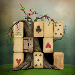 Conceptual fantasy illustration of Wonderland with playing card suits.