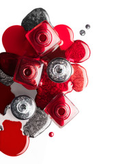 Red and silver nail art cosmetics concept