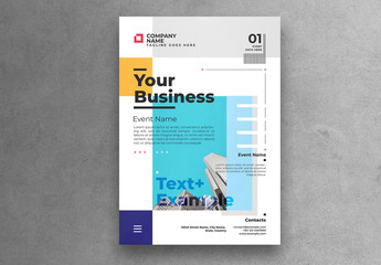 Business Flyer Layout with Blue, Purple, and Yellow Accents