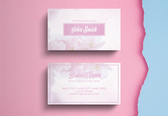 Business Card Layout with Pink Accents