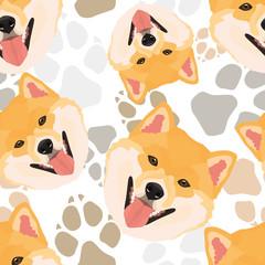 Muster Hundepfoten Shiba Inu